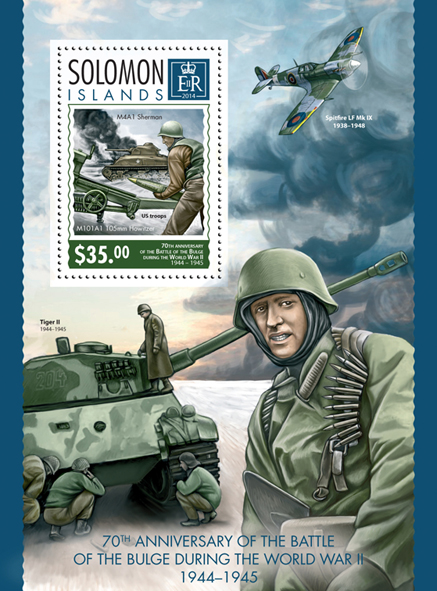 World War II  - Issue of Solomon islands postage stamps
