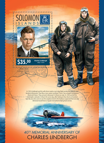 Charles Lindbergh - Issue of Solomon islands postage stamps