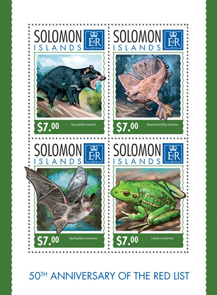 Red List - Issue of Solomon islands postage stamps