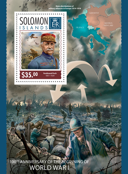 World War I - Issue of Solomon islands postage stamps