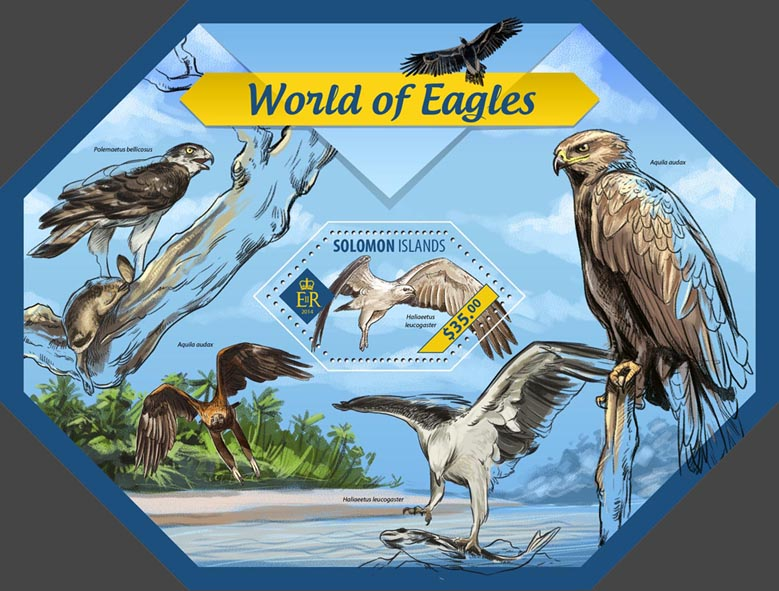 Eagles - Issue of Solomon islands postage stamps
