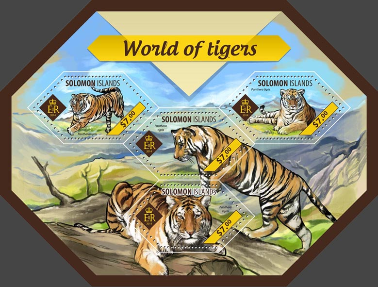 Tigers - Issue of Solomon islands postage stamps