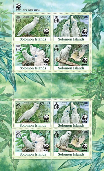 White Cokatoo 8v - Perforated - Issue of Solomon islands postage stamps