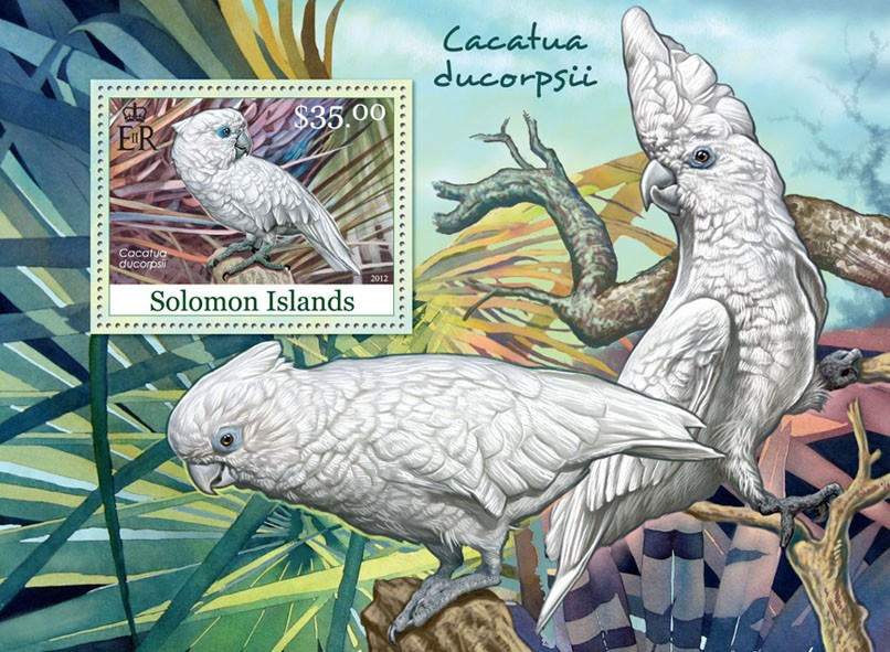 White Cokatoo - Issue of Solomon islands postage stamps