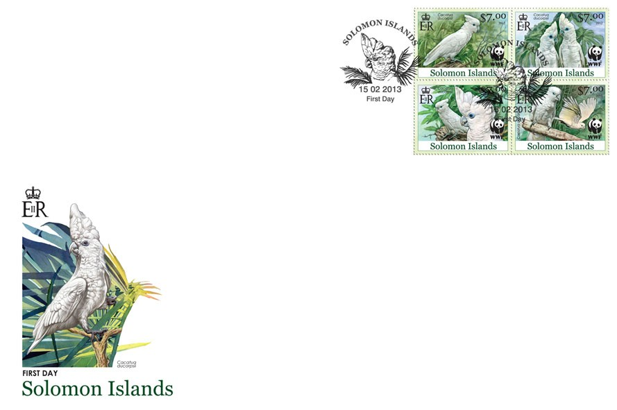 White Cokatoo - FDC - Issue of Solomon islands postage stamps