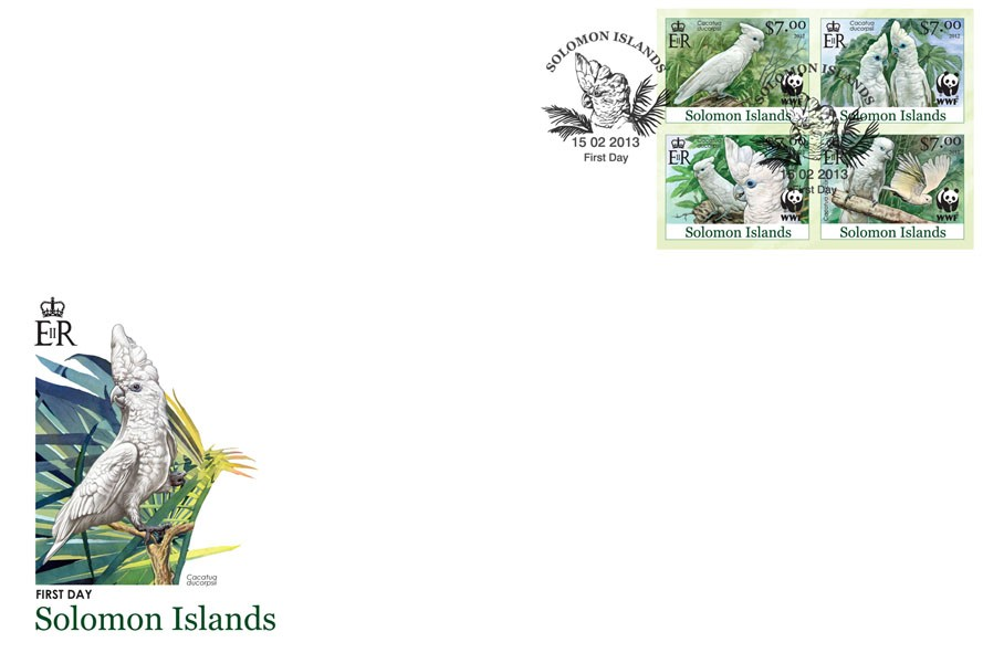 White Cokatoo - FDC Imperforated - Issue of Solomon islands postage stamps