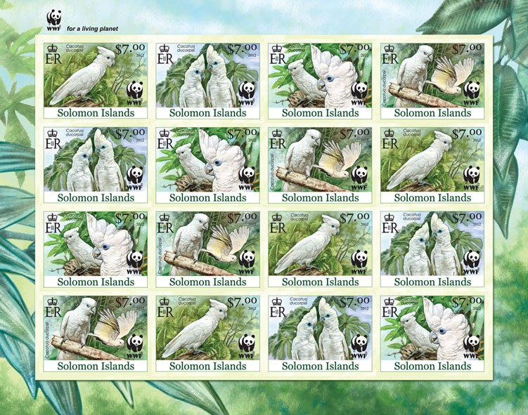 White Cokatoo 16v - Imperforated - Issue of Solomon islands postage stamps