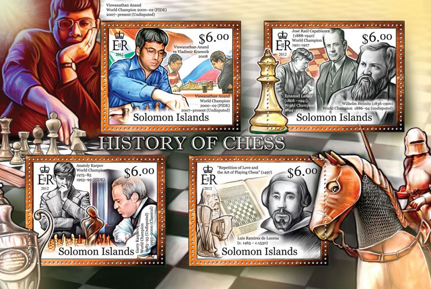 History of Chess - Issue of Solomon islands postage stamps