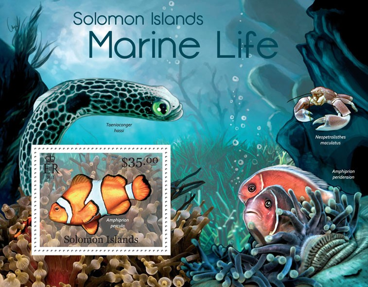 Marine Life - Issue of Solomon islands postage stamps