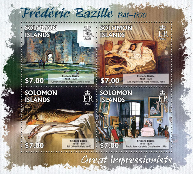 Frederic Bazille - Issue of Solomon islands postage stamps