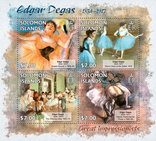 Edgar Degas - Issue of Solomon islands postage stamps
