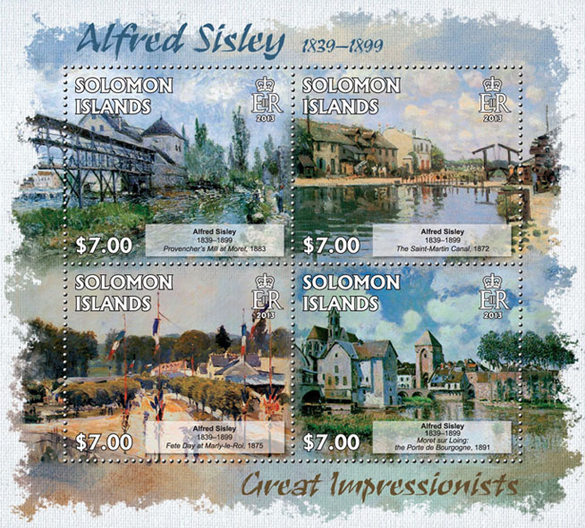 Alfred Sisley - Issue of Solomon islands postage stamps