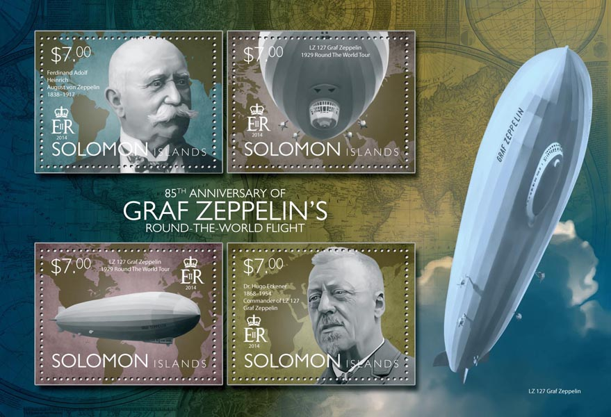 Graf Zeppelin - Issue of Solomon islands postage stamps
