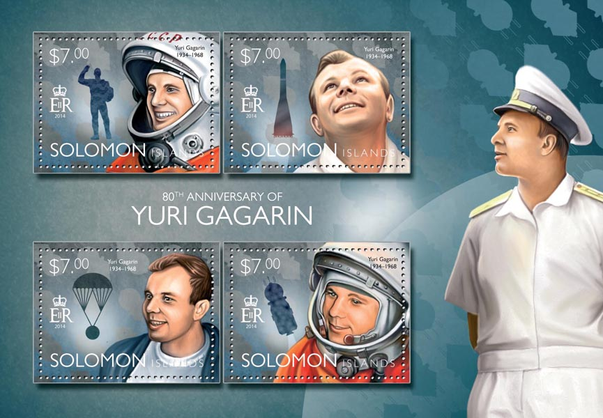 Yuri Gagarin - Issue of Solomon islands postage stamps