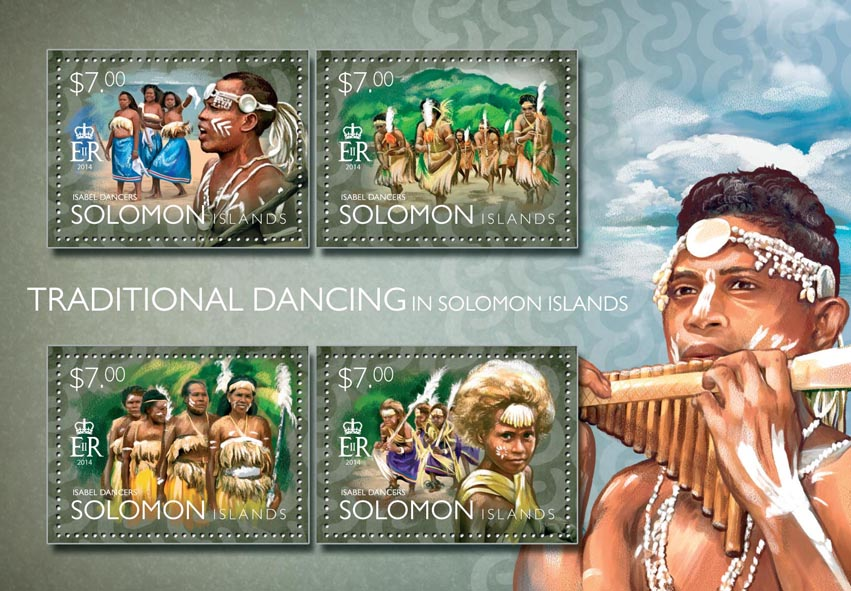 Traditional dancing - Issue of Solomon islands postage stamps