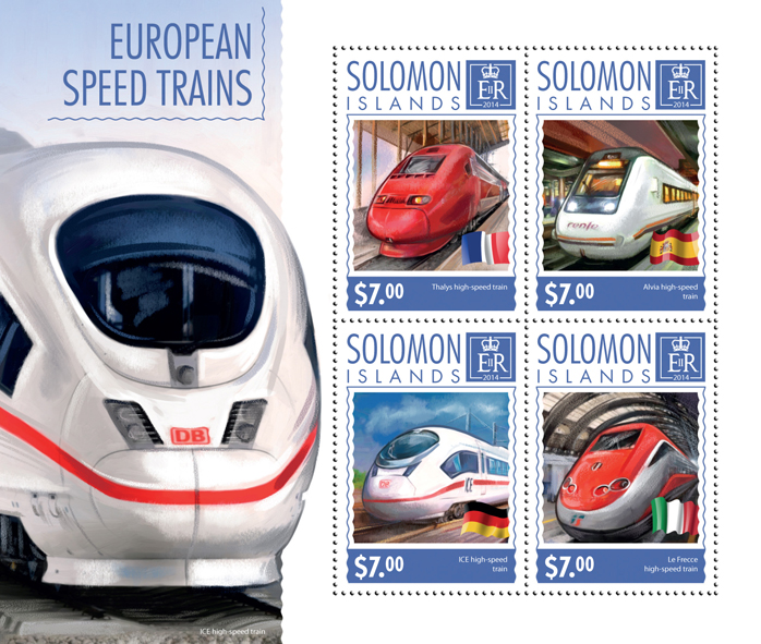 European high-speed trains - Issue of Solomon islands postage stamps
