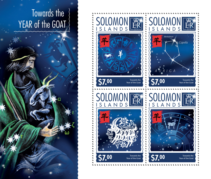 Towards the Year of the Goat - Issue of Solomon islands postage stamps