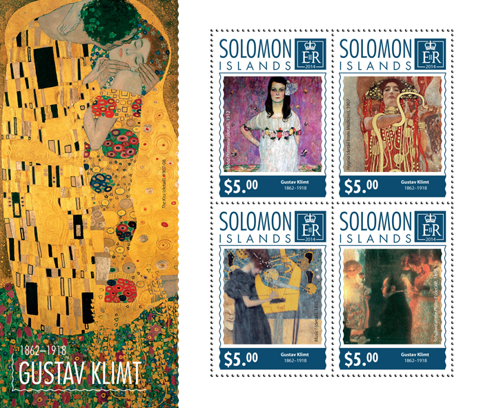 Gustav Klimt - Issue of Solomon islands postage stamps