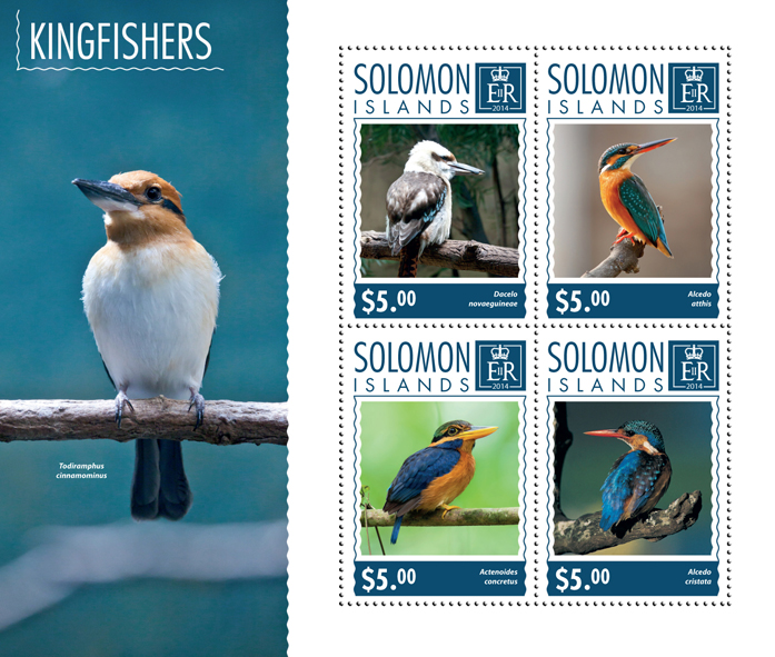 Kingfishers - Issue of Solomon islands postage stamps