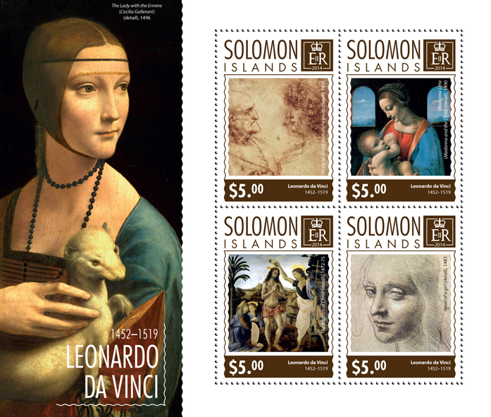 Leonardo da Vinci - Issue of Solomon islands postage stamps