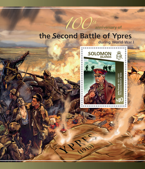 Battle of Ypres  - Issue of Solomon islands postage stamps