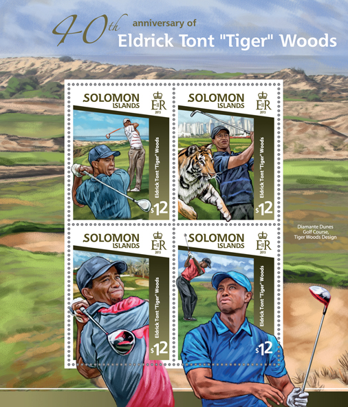 Tiger Woods  - Issue of Solomon islands postage stamps