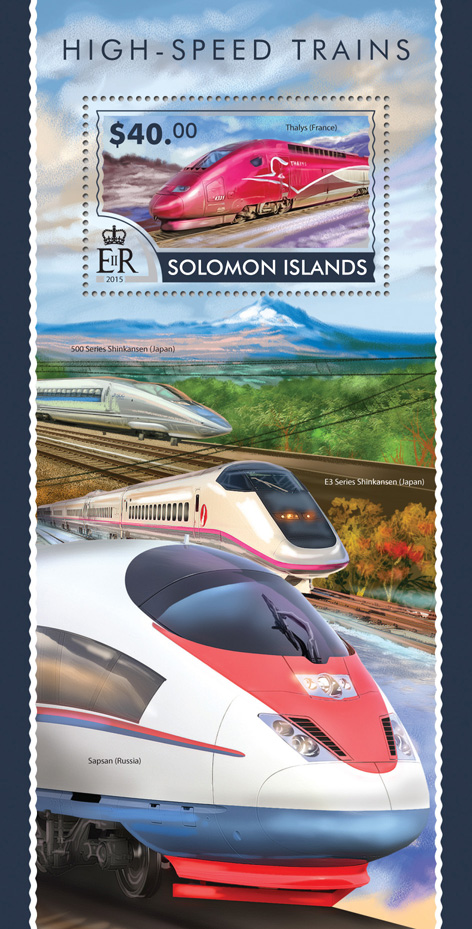High-speed trains - Issue of Solomon islands postage stamps