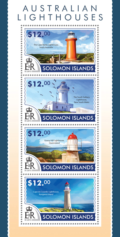 Australian lighthouses - Issue of Solomon islands postage stamps