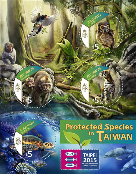 Fauna – TAIPEI 2015 - Issue of Solomon islands postage stamps