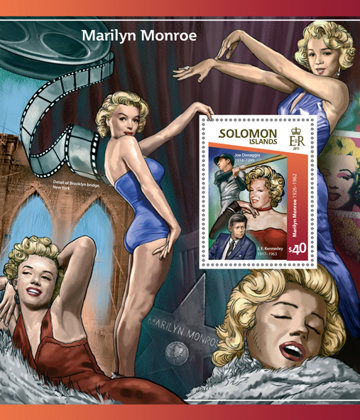 Marilyn Monroe - Issue of Solomon islands postage stamps