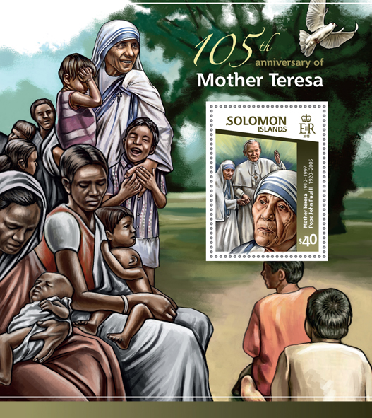 Mother Teresa - Issue of Solomon islands postage stamps