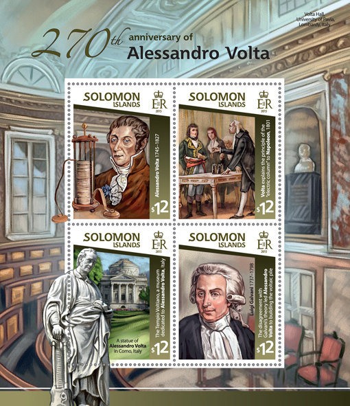 Alessandro Volta - Issue of Solomon islands postage stamps