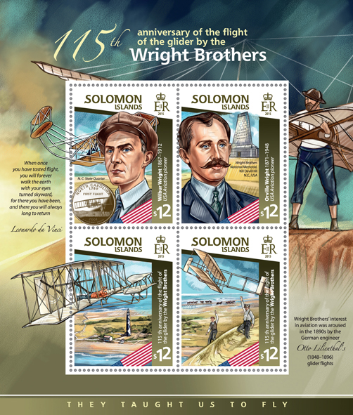 Wright brothers - Issue of Solomon islands postage stamps