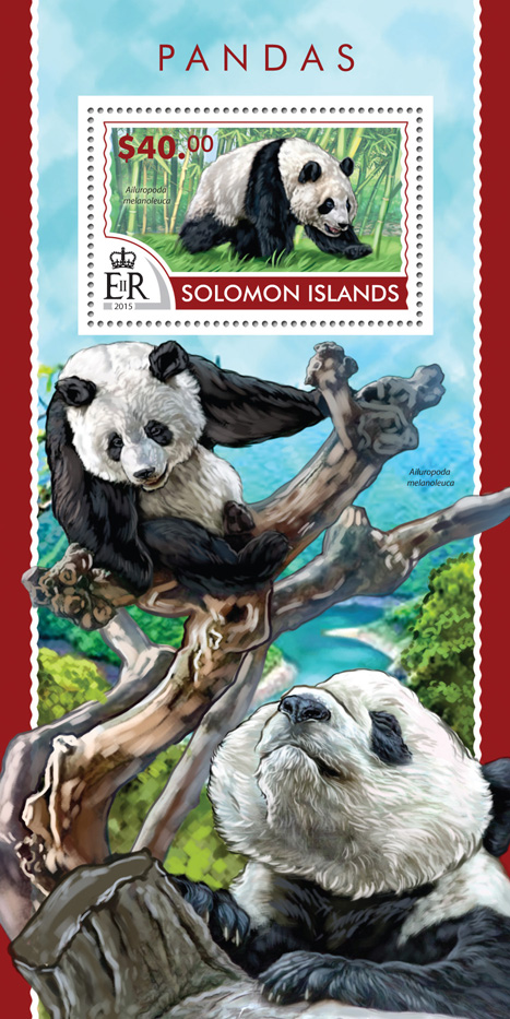 Pandas - Issue of Solomon islands postage stamps