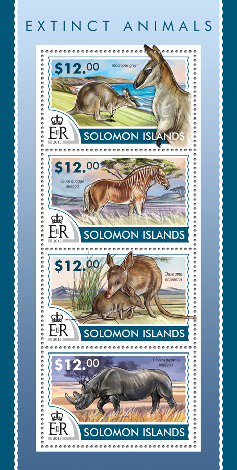 Extinct animals - Issue of Solomon islands postage stamps