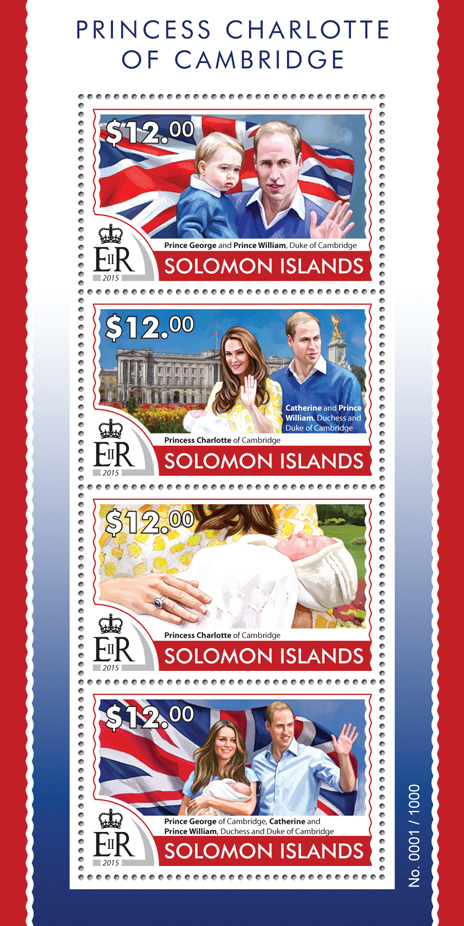 Princess Charlotte - Issue of Solomon islands postage stamps