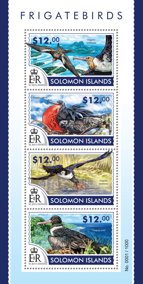 Frigatebirds - Issue of Solomon islands postage stamps