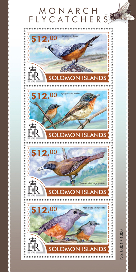 Monarch flycatchers - Issue of Solomon islands postage stamps