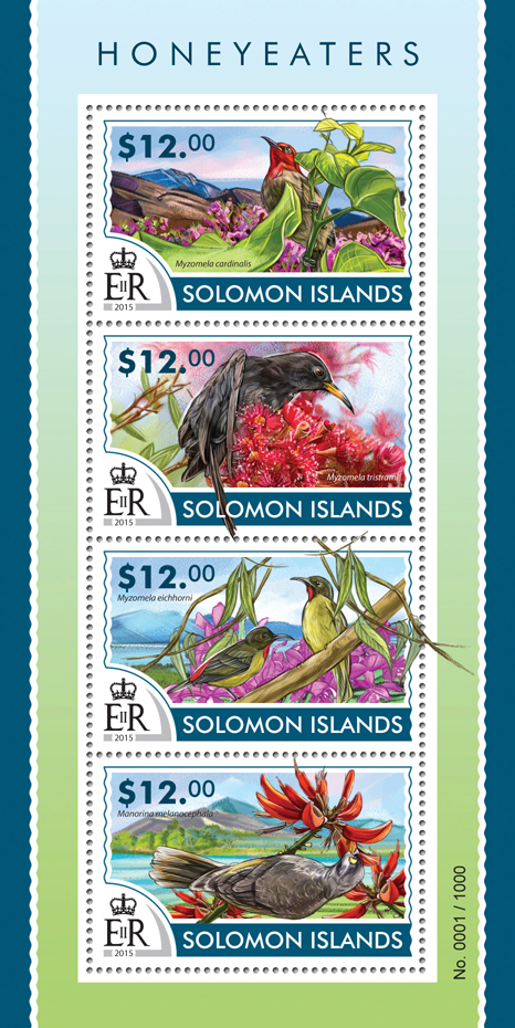 Honeyeaters - Issue of Solomon islands postage stamps