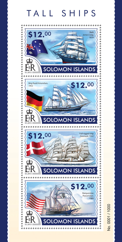 Tall ships - Issue of Solomon islands postage stamps