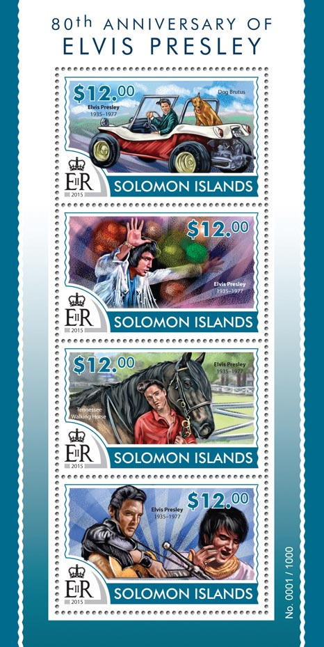 Elvis Presley - Issue of Solomon islands postage stamps