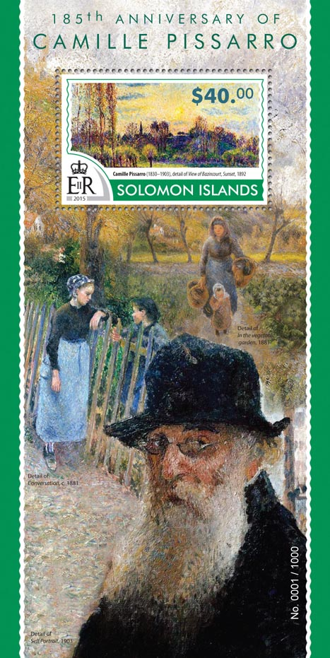 Camille Pissarro - Issue of Solomon islands postage stamps
