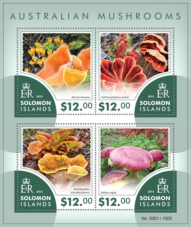 Mushrooms - Issue of Solomon islands postage stamps