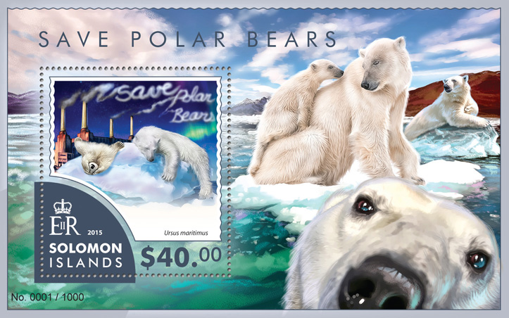 Polar bears - Issue of Solomon islands postage stamps