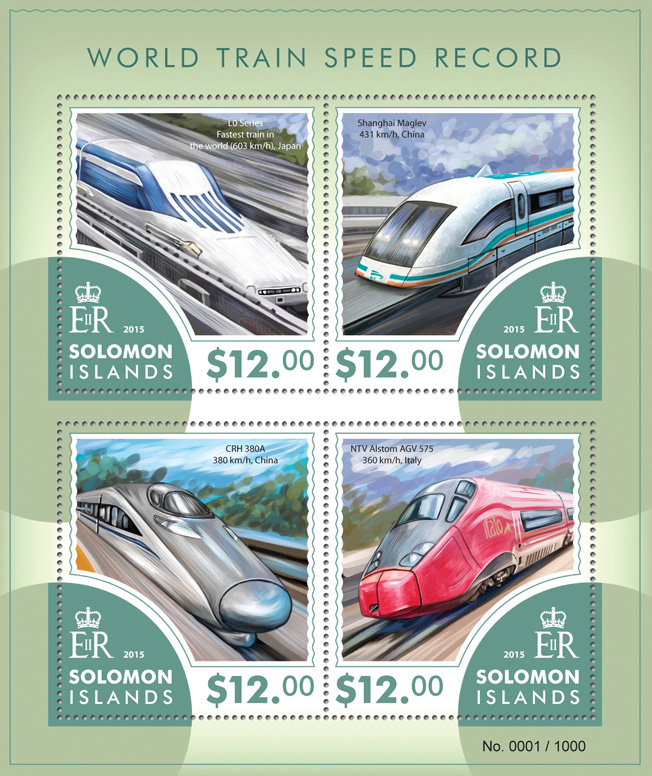 Trains - Issue of Solomon islands postage stamps