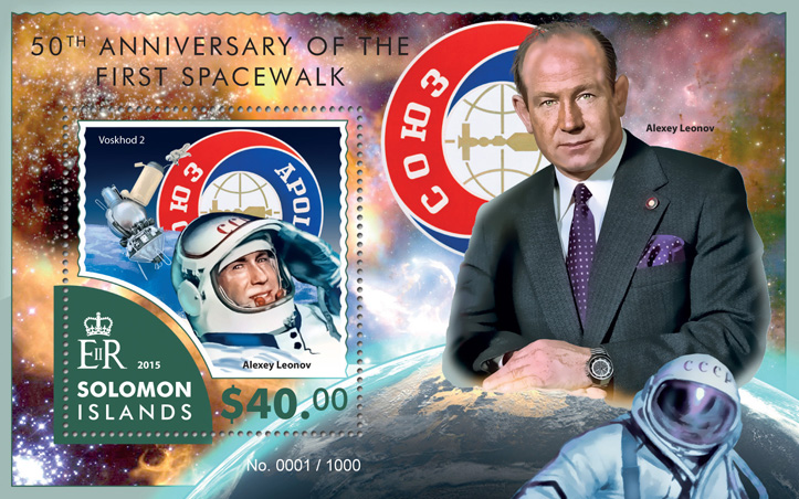 First Spacewalk - Issue of Solomon islands postage stamps
