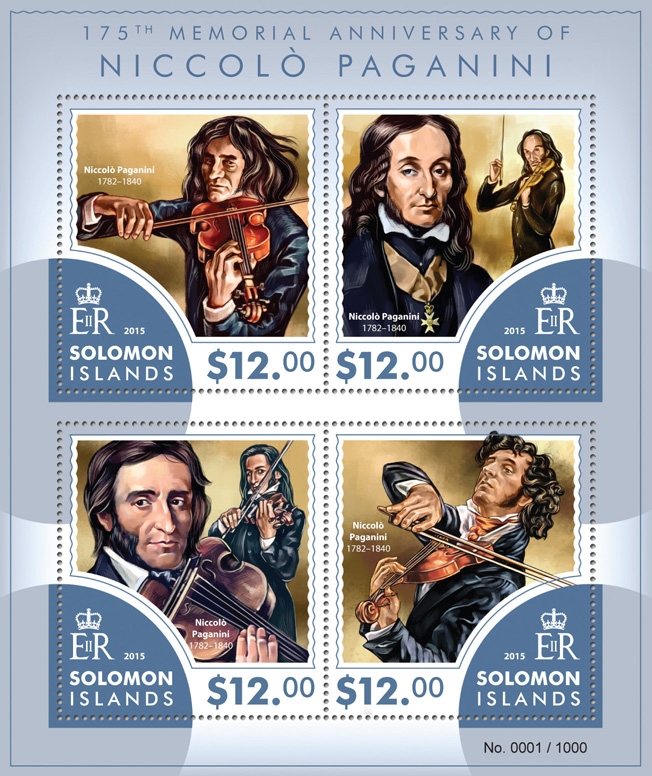 Niccolò Paganini - Issue of Solomon islands postage stamps