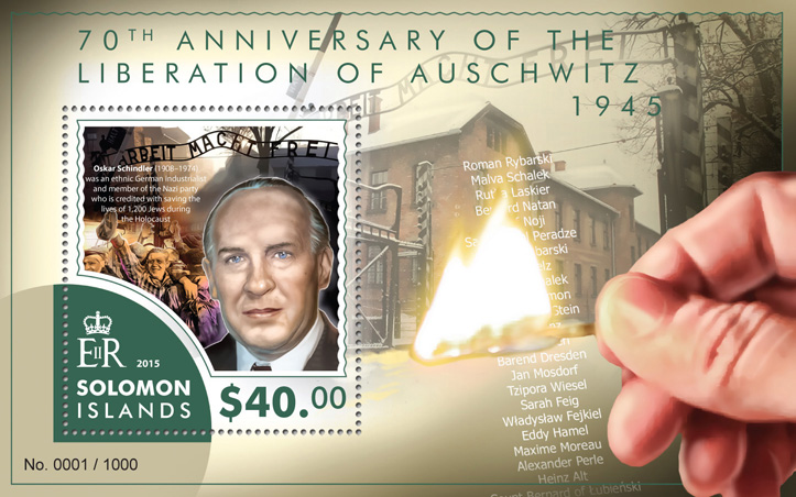 liberation of Auschwitz - Issue of Solomon islands postage stamps