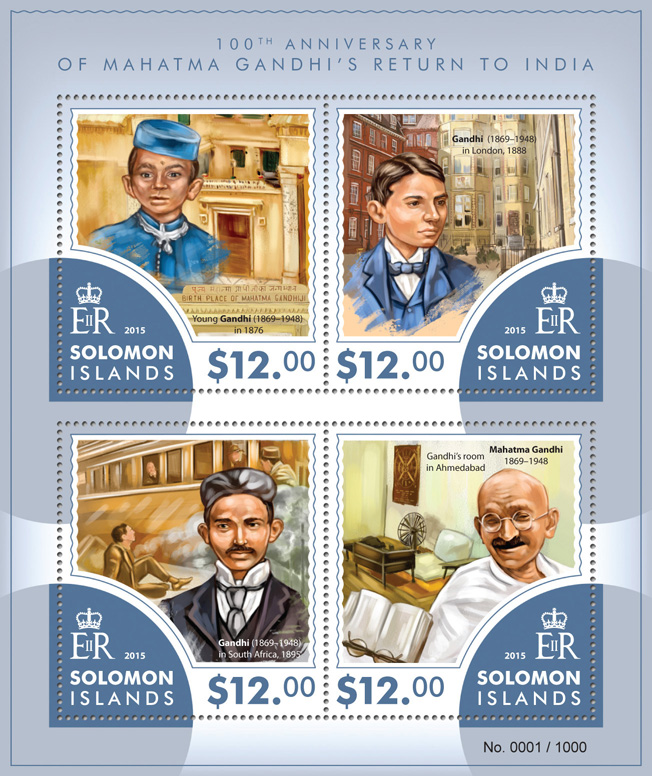 Mahatma Gandhi - Issue of Solomon islands postage stamps