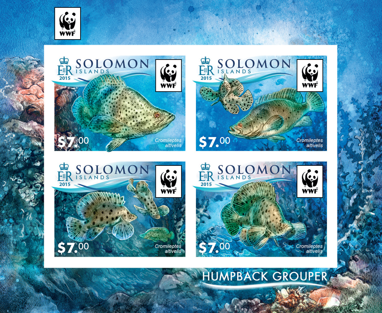 WWF – Fish (imperf. Set) - Issue of Solomon islands postage stamps